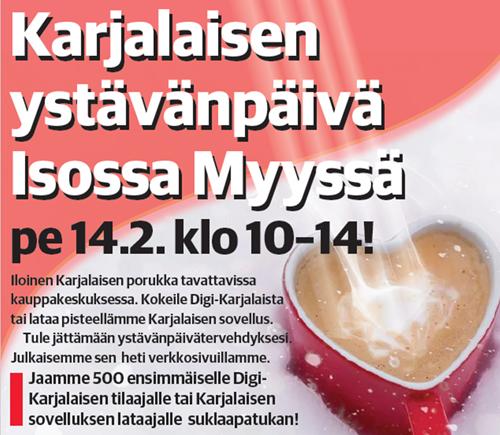 Karjalainen mukana Iso Myyn ystävänpäivässä!