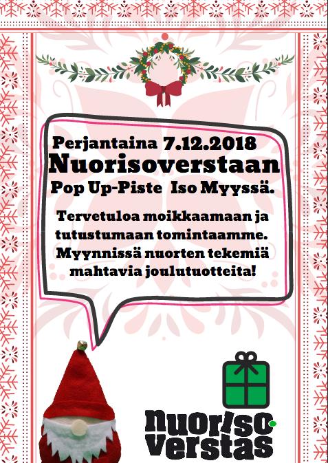 Joensuun Nuorisoverstas pitää jouluista pop up -pistettään Iso Myyssä 7.12.2018