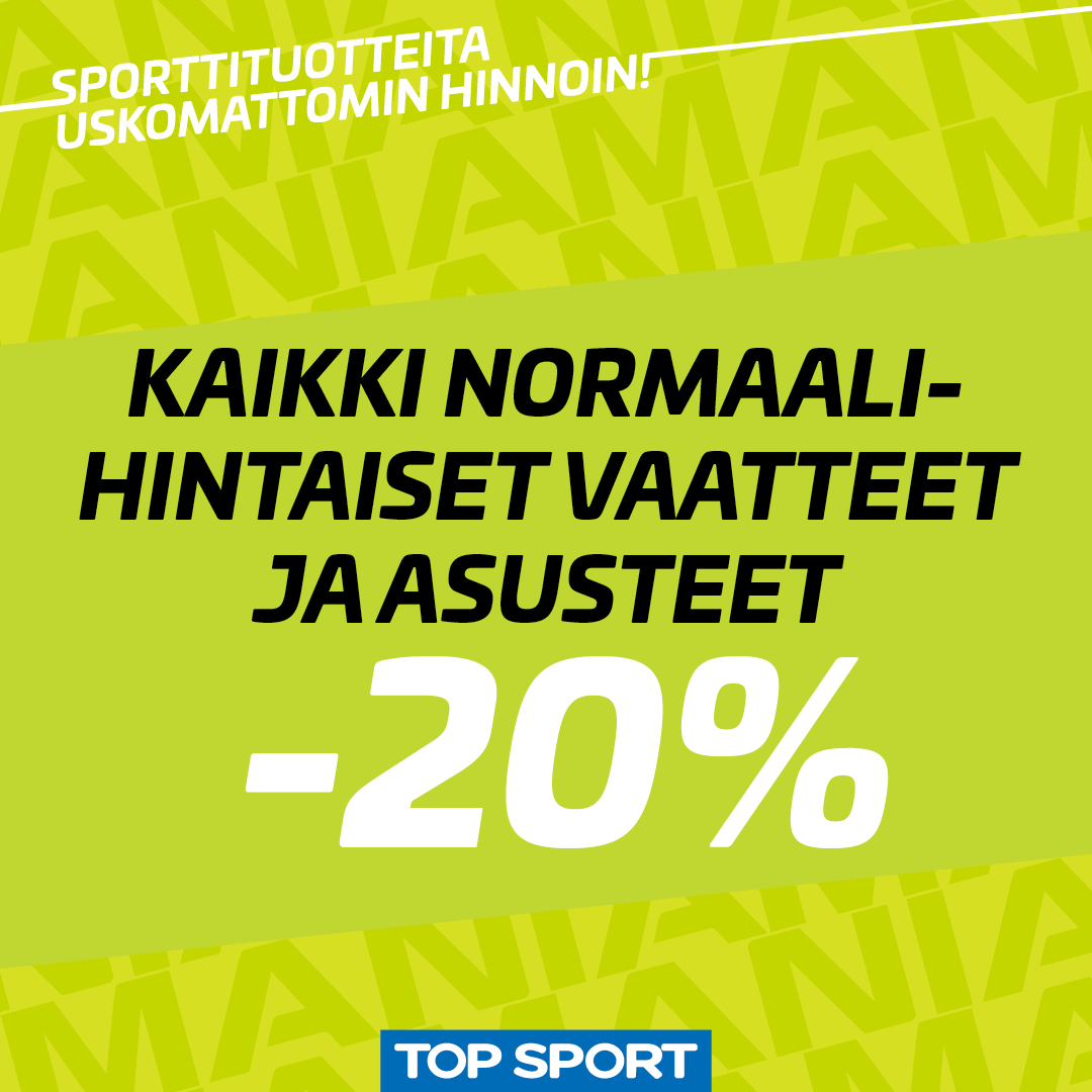 Kaikki normaalihintaiset vaatteet ja asusteet -20% - Top Sport
