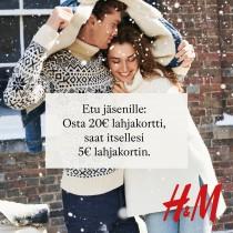 Etu jäsenille: Ostaessasi 20€ lahjakortin, saat itsellesi 5€ arvoisen lahjakortin! - H&M