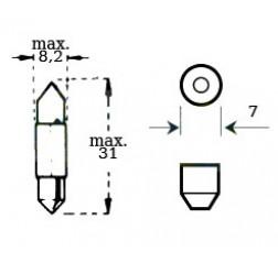 Lamppu 6v 3w S7 Pituus 31mm-thumbnail